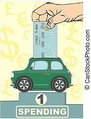Spending - Illustration of a car as a piggy bank Vector
