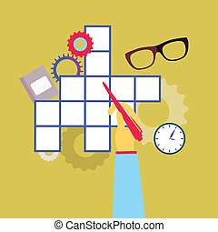 Crossword puzzle with different icons - vector illustration