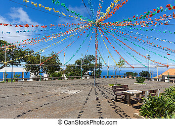 Village square with garland decoration at Madeira Island,...