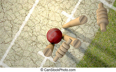 Cricket Ball Hitting Wickets - A red leather cricket ball...