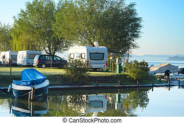 Camping in Europe - Beautiful view on camping site in the...