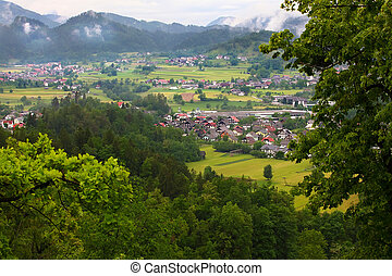 Bled, Slovenia - Villages in Alp mountains panorama around...