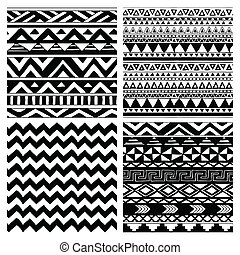 Aztec Tribal Seamless Black and White Pattern Set - Set of 4...
