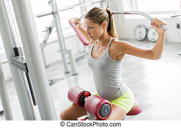 Young woman training in the gym - Pretty young woman...