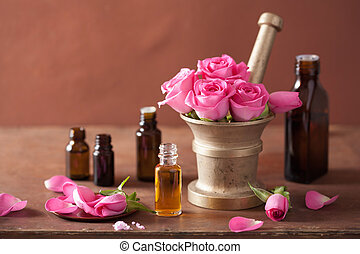 spa and aromatherapy set with rose flowers mortar essential...