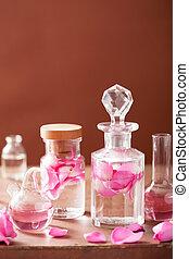 perfumery, aromatherapy, Conjunto, rosa, flores, frascos