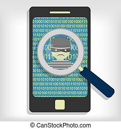 Hacker detected on smartphone - A magnifying glass detected...