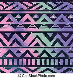 Aztec Tribal Seamless Pattern on Cosmic Background - Hand...