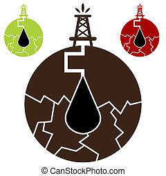 Fracking Oil Icon - An image of a fracking oil icon