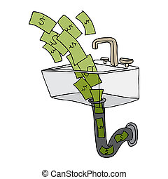 Money Down The Drain - An image of money going down the...