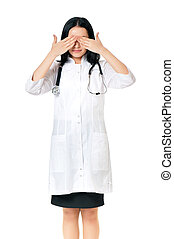 Female doctor - Portrait of doctor woman showing see no evil...
