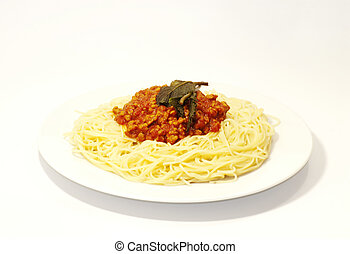 Spaghetti bolognese on a plate over white background