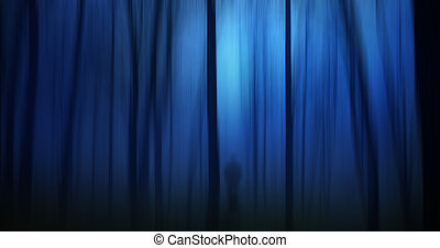 Dark ghostly forest with silhouette of a person