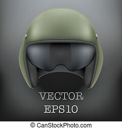 Background of Military flight helicopter helmet. Vector. -...