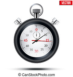 Realistic shine analog stop watch frimed rubber tires Vector...