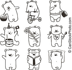 Cartoon Baby Bears in Action Collection - Nine hand drawn...
