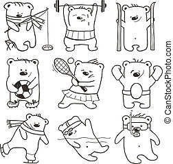 Cartoon Sport Bears Oulines Collection - Nine athletic...