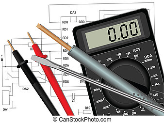 Soldering iron screwdriver and multimeter - Illustration of...