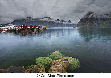 Norway. - Image of Lofoten Islands, Norway during stormy...