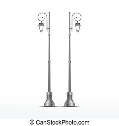 Vector Street Lamp Isolated on White Background - Vector...