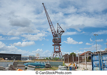 Forsaken crane on port in Bordeaux