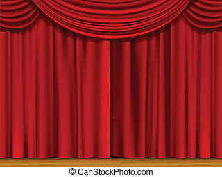 Vector Scene with Red Curtains - Vector Illustration of...