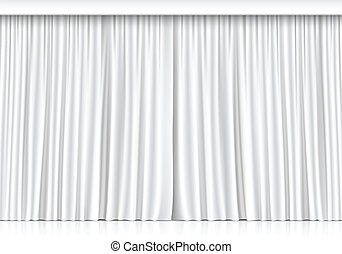 Vector White Curtains Isolated on White Background - Vector...