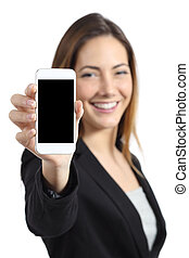 Business woman smiling showing a blank smart phone screen...