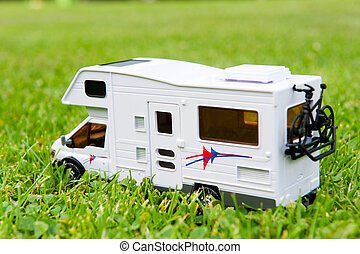 Mobile home on the camping ground