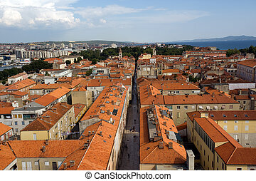 Zadar panorama - Panorama of red roofs of historical city...