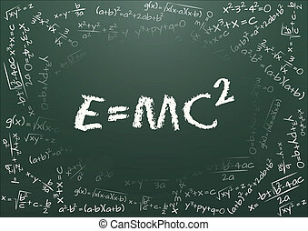 e=mc 2 - illustration of e=mc2 formula on chalkboard