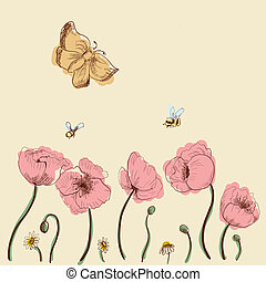 Hand-drawn poppies, daisies, bees, moth graphic style