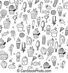 pattern of ice-creams and cupcake - seamless pattern of...