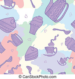 seamless pattern of subjects for tea