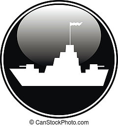 Warship button on white background. Vector illustration.