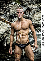 Hot Muscular Man Wearing Black Underwear - Hot Muscular Wet...