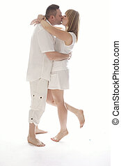 Very Sweet Couple Kissing While Embracing