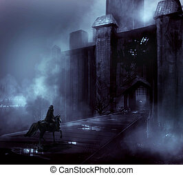 Night castle with horseman illustration