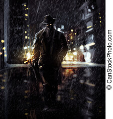 Detective - Noir style detective walking on a rainy road art