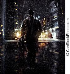 Detective - Noir style detective walking on a rainy road art