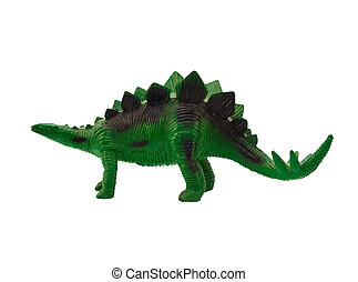 Stegosaurus profile - Isolated plastic green stegosaurus...