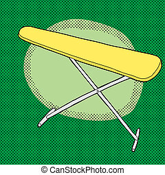 Yellow Ironing Board - Cartoon yellow ironing board over...
