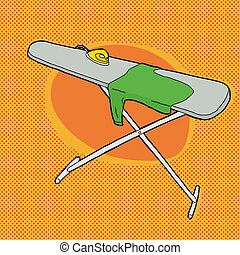 Shirt on Ironing Board - Cartoon ironing board with steam...