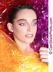 Beauty Image of a Woman Wrapped in Cellophane