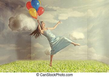 Woman Floating like Levitation Fantasy Image - Fantasy Image...