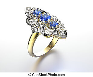 Engagement Ring with sapphire. Jewelry background