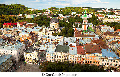 Top view (the Cathedral) from of the city hall in Lviv, Ukraine.