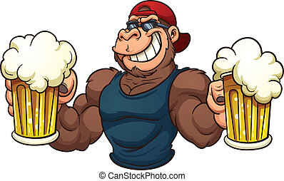 Cool gorilla - Cool cartoon gorilla holding mugs of beer...