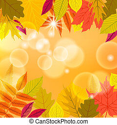 Vector card with autumn decor and foliage made of multiple...