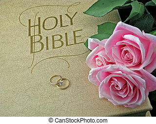 bible rose rings - pink roses and wedding rings on the bible